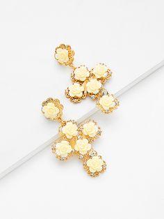 007738688b Shop Flower Decorated Drop Earrings online. SheIn offers Flower Decorated  Drop Earrings & more to
