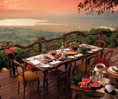 The Ngorongoro Crater Lodge's perch on the edge of the largest unbroken volcanic caldera in the world provides spectacular panoramas of the expanse of seasonally toasty brown or vibrant green grasses dotted with wildlife. Game on the crater floor—from wildebeest to big cats—is visible with binoculars, and animals roam freely on the property.  THE FOOD: Pan-African dishes like duck with kumquat and chili marmalade are served in the domed dining room.