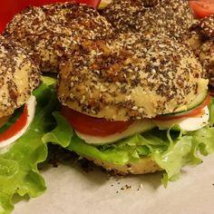 "Brooklyn Cafe's Vegetarian ""Everything"" Bagel. Everything Bagel, Original Recipe, Salmon Burgers, Brooklyn, Sandwiches, Vegetarian, Ethnic Recipes, Food, Essen"