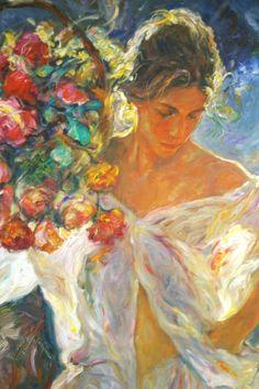 Jose Royo - Portrait of a Woman Holding Flowers - This one hangs over my bed.