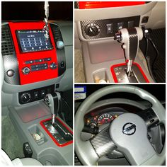 Red painted interior with carbon fiber vinyl accents in my 2010 Nissan Frontier..