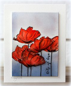 Rapport från ett skrivbord  I used my favorite stamp and die from Penny Black  Blooming Garden Poppy Pair Happy Snippets