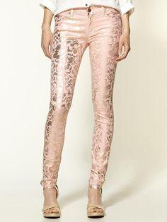 metalic floral jeans