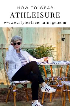 Beth is sharing how to wear athlesiure, a style that is comfortable to lounge in yet presentable. Visit Style at a Certain age for the outfit details and how you can wear atheleisure on days where you need an easy outfit to slip into at a moment's notice. Athleisure Fashion, Athleisure Outfits, Casual Summer Outfits For Women, Simple Outfits, Work Outfits, Fashion For Women Over 40, Dress For Success, Fitness Fashion, Women's Fashion