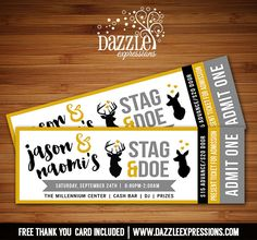 Printable Stag and Doe Party Ticket Invitation | Deer | Wedding | Bridal Shower | Jack and Jill Party Ticket | Bride to Be | DIY | Digital File | Fundraiser or Event | Mustard Gold, Black and Gray Invitation