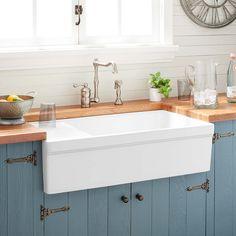 "36"" Gallo Fireclay Farmhouse Sink with Drainboard - White - Farmhouse Sinks - Kitchen"