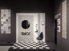 The graphic styling and colour matching re-interpret the Cementine tipical of Art Deco and Liberty style interiors of the early twentieth century: Patchwork. Tile Showroom, Showroom Design, Furniture Showroom, Toilet Tiles, Signages, Lobby Design, Ceramic Studio, Ceramic Design, Booth Design
