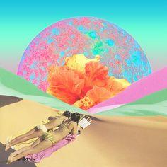 Hibiscus beach | Collage art by Karen Lynch.