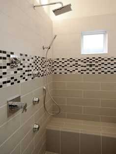 master bathroom shower heads  I like the sprayer and the larger tiles...the smaller are too busy for me