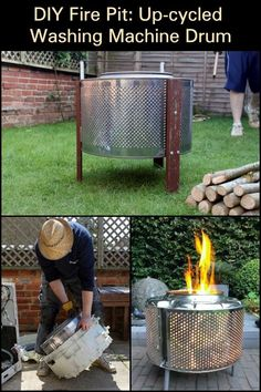 Learn how to turn an old washing machine into a backyard fire pit through this tutorial. Learn how to turn an old washing machine into a backyard fire pit through this tutorial. Fire Pit Ring, Diy Fire Pit, Fire Pit Backyard, Backyard Patio, Backyard Landscaping, Backyard Seating, Back Yard Fire Pit, Backyard Ideas, Inexpensive Landscaping