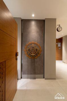 fusion of Contemporary and Traditional morals, Blend of the Two was also an Pooja Room Door Design, Foyer Design, Lobby Design, Entrance Design, House Design, Home Entrance Decor, House Entrance, Entryway Decor, Home Interior Design