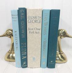 Blue Decorative Book Set. Shelf decor Mantel Decor Shelf decorating mantel decorating. Buy On Etsy Now