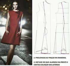 PASSO A PASSO MOLDE DE VESTIDO Belíssimo vestido de cor quente. O bordeaux é das minhas cores preferidas por ser uma cor sóbria e marcante. Este modelo de