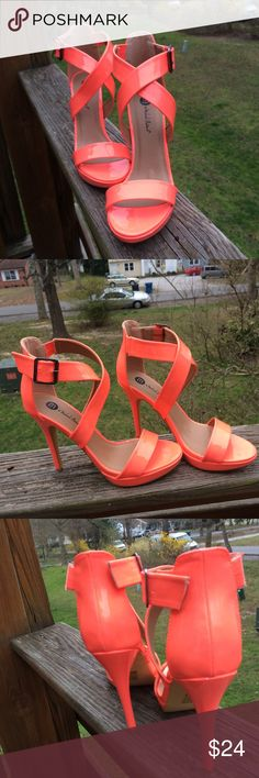 NWOT Michael Antonio Strappy Heels M by Michael Antonio - Hot! fluorescent coral heels. Come off slightly more orange in the photos. Straps have raw edges. Tiny nic marks by the hardware on the strap from storage that I couldn't even get to show up in a photo. Never worn. Michael Antonio Shoes Heels