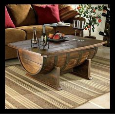 Whiskey barrel coffee table is coffee table that made from whiskey barrel. You can make whiskey barrel coffee table by yourself with use old whiskey barrel. Whiskey Barrel Coffee Table, Wine Barrel Table, Wine Table, Diy Coffee Table, Wine Barrels, Wine Cellar, Keg Table, Barrel Bar, Patio Table