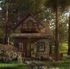 Land Wallpapers ☘︎ Style Cottage, Cottage In The Woods, Cozy Cottage, Cabins In The Woods, Witch Cottage, Cottage House, Witch House, Garden Cottage, Cottage Ideas
