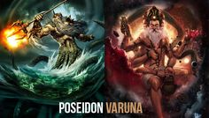 Poseidon and Varuna are both prominent Gods of water. They are both depicted as riding in a chariot driven by animals. Poseidon is also known as Neptune referring to the planet which in Hindi is named Varuna. Mythological Characters, Indian Gods, Homeschooling, Mythology, Religion, Greek, Spirituality, Culture, Fantasy