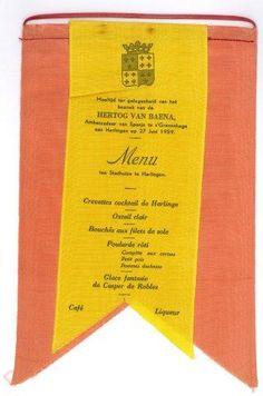Menu van de maaltijd op 27 juni 1959 in het Harlinger stadhuis, ter gelegenheid van de ontvangst van de hertog van Baena, ambassadeur van Spanje in Nederland. Collectie Hannemahuis, invnr 5674.