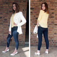 @fannashion mit einem kompletten Outfit aus dem Online-Shop von Ital-Design: weißer Blazer, gelbe Bluse, cropped Jeans und weiße Pumps.