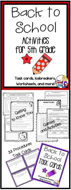 This 36 page 5th Grade Back to School set of worksheets, task cards, games, a writing activity, math activities and more will keep your students busy learning the first week. Great activities to help 5th Grade Teachers get to know students, while allowing them to get to know one another, and helping them make the transition to a new classroom. Love this for Back to School! (TpT Resource)