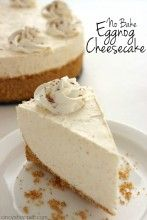 No-Bake Eggnog Cheesecake is so easy to make! - - If you are needing a holiday dessert that is easy and delicious, you will want to whip up this No Bake Eggnog Cheesecake. You will find the recipe super simple and your holiday guests (even the ones w. Desserts For A Crowd, Köstliche Desserts, Cherry Desserts, Easter Desserts, Health Desserts, Holiday Baking, Christmas Baking, Christmas Pies, Christmas Cookies