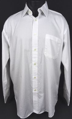 Jhane Barnes Mens  17 34/35 XL White Dress Shirt Pocket Ribbed 2-Ply Button Down #JhaneBarnes