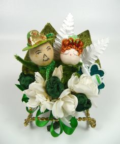 St Patricks Day Corsage Vintage Leprechauns Irish Green by meaicp, $28.00