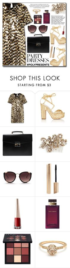 """#PolyPresents: Party Dresses"" by adnaaaa ❤ liked on Polyvore featuring Rachel Zoe, Alchimia Di Ballin, Prada, Erickson Beamon, Rebecca Taylor, Dolce&Gabbana, Huda Beauty, contestentry and polyPresents"