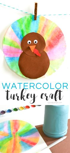 With just a few supplies, these watercolor coffee filter turkeys are a fun Thanksgiving craft to make with the kids. Hang around the houseassome cute Thanksgiving decorations! They would look really pretty hanging in a window because the watercolors give them a sun catcher type of look! #kidscraft #turkeycraft