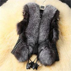 2016黒フェイクファーベスト暖かい冬の毛皮のジャケットコート用女性ファッション女性毛皮ベストCT041