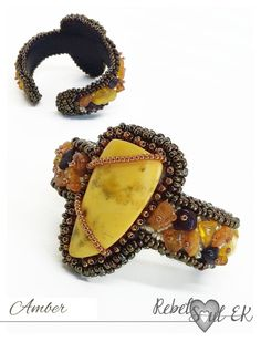 Genuine amber bracelet hand embroidered statement by RebelSoulEK
