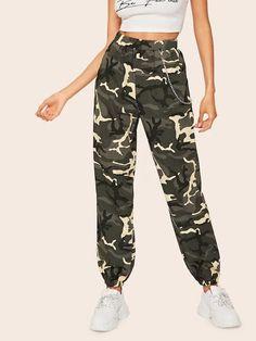 Shop Chain Detail Camo Lantern Pants at ROMWE, discover more fashion styles online. Fashion News, Fashion Outfits, Jeans Fashion, Fashion Styles, Pantalon Cargo, Spandex Pants, Type Of Pants, Denim Flares, Pants For Women
