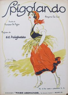 1925 Italian Music Sheet, Spigolando (Fox Trot), Music by G. E. Pulighedda, Original Vintage Music Poster from 1920s