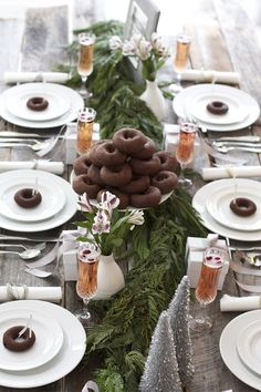 Chocolate Donuts + Evergreen Garland