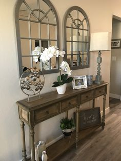Farmhouse inspired entry way. #entryway #homedecorideas Overstock entry table with home goods items