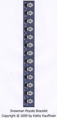 snowman peyote | Pattern Snowman Peyote Bracelet Pattern by KathysDesignsLLC