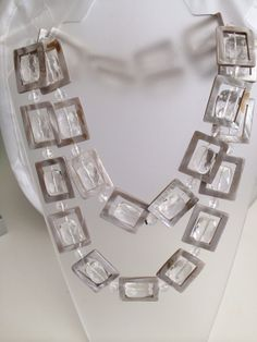 Barefoot Elegance Buckle Inspired Runway Couture Necklace MOP Genuine Natural Mother of Pearl & Faceted Clear Cushion Faceted Art Glass