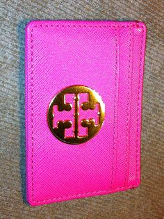 pink leather card-case