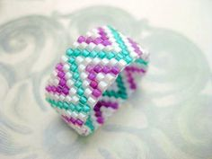 Peyote Ring ZigZag Seed Bead Ring Beaded by MadeByKatarina on Etsy, $14.00