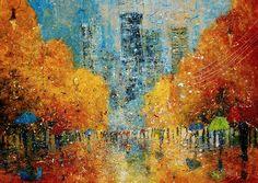 'Rain' by Justyna Kopania Impressionist Paintings, Landscape Paintings, Oil Paintings, Canvas Art Prints, Fine Art Prints, Art History Major, Rain Painting, Traditional Art, Painting Inspiration