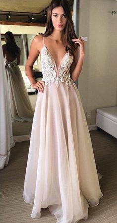 2018 Sexy V Neckline Prom Dresses Long, Dress For Prom