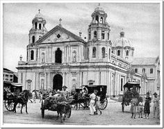 """Old Quiapo Church like the name of """"Manila"""", Quiapo was also derived from the name of water plants that can be seen in the surrounding rivers of Quiapo. The area was discovered by a Spanish Governor General way back in August The origina Filipino Architecture, Philippine Architecture, Church Architecture, Black Nazarene, 1920s, Filipino Culture, Manila Philippines, Philippines Culture, Nostalgia"""