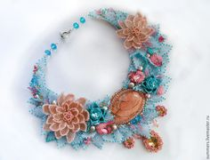 """Купить Колье """" Цветы Авалона"""" - голубой, лотос, цветы, колье с лотосами, колье с яшмой"""