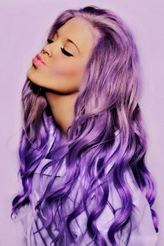 long Purple dyed hair.. Would never do this but this is pretty