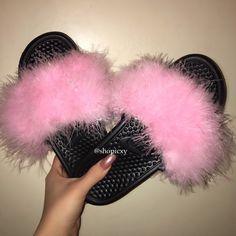 eabf8e6171a Custom Nike Fur Slides with Lurex. Storenvy. Nike SlidesPink Faux FurCustom  SneakersWhite ...