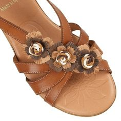 Lotus Bethel Tan Multi-Leather Wedge Sandals - Sandals from Lotus Shoes UK