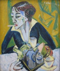 Ernst Ludwig Kirchner - Erna with a Cigarette, 1915