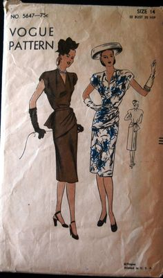 Vogue 5647 Dress 40s Sz14/32/35 Slender skirt w/a back panel joins the blouse at waistline.Draped front peplum is pulled through buckle at side back & attached to belt.Soft pleat each side of collarless Vneckline.Cap sleeves cut in one w/blouse.env good c/c/used/unprinted 43+2.32 9bds 6/1/14