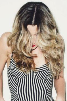 extended dark root with warm, blonde toned ombre and styling inspiration