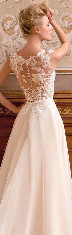 Gorgeous lace back. A-line wedding dress #laceweddingdresses